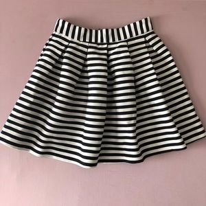 ASOS Black and white Striped Pleat Skirt